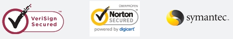 Die Zahlung ist abgesichert durch: Verisign Secured, Norton SECURED und Symantec